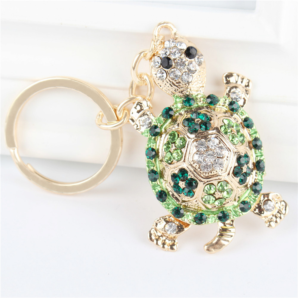 Green Tortoise Turtle Pendant Charm Rhinestone Crystal Purse Bag Keyring Key Chain Accessories Wedding Party Lover