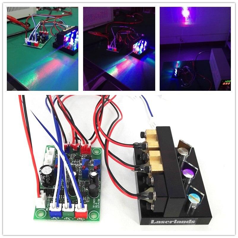 300mw RGB rojo verde azul combinado láser Mini blanco módulo láser iluminación de escenario Bola de discoteca giratoria activada por sonido, luces de fiesta, luz estroboscópica, luces de escenario led RGB de 3W para Navidad, hogar, KTV, espectáculo de Bodas de Navidad