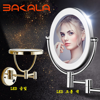 BAKALA Shaving Makeup Mirrors with LED Lights and 3X Magnification Wall Mounted Bathroom Vanity Lighted Gold Mirrors 8inch