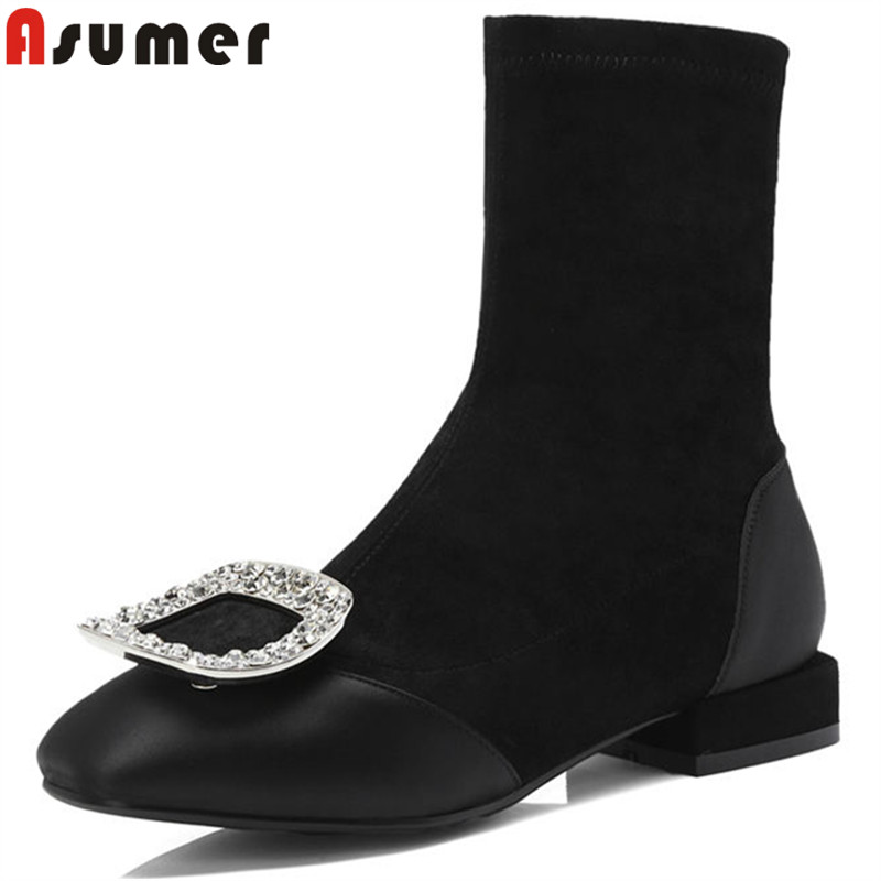 ASUMER 2018 ankle boots fashion square toe low heels ladies suede leather boots rhinestone spring autumn boots women size 34-40 bore size 40mm 20mm stroke smc type mgp three shaft cylinder with magnet and slide bearing