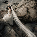 Real Simple Cheapest  Ivory 2.5 M Tulle Wedding Veils 2016 Church Long Bridal Veils Wedding Accessories voile mariage V96