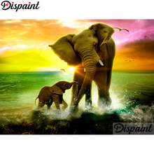 Dispaint Full Square/Round Drill 5D DIY Diamond Painting Animal elephant Embroidery Cross Stitch Home Decor A10380