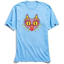 Men T-shirts Meowjoras Mask Funny T Shirt The Legend Of Zelda Majoras Printed Clothes Mens Tshirt 100% Cotton Tops Tees