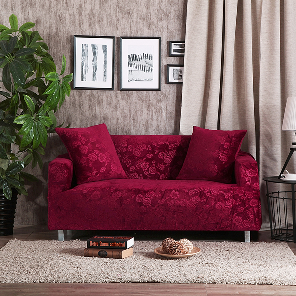 Red Wine L Shaped Sofa Cover Solid Color Sofa Throw Cover