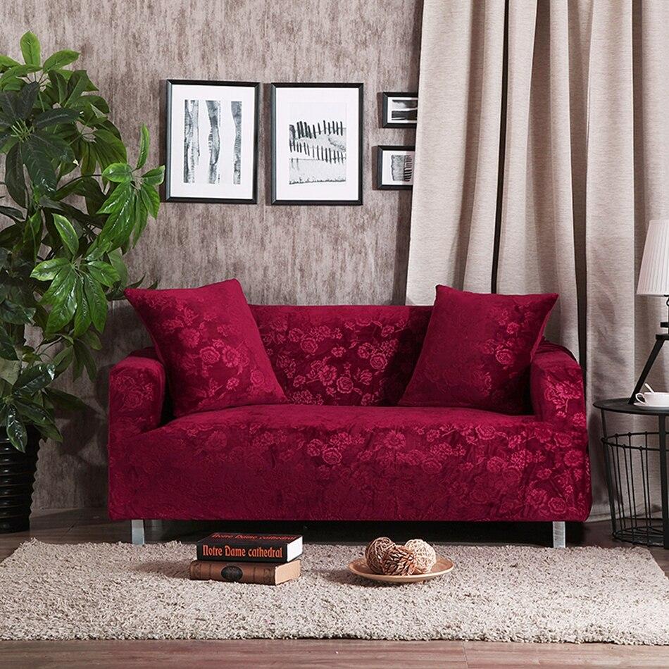 Vin rouge en forme de l canapé couverture solide couleur canapé jeter couverture meubles étirer la couverture unique causeuse canapé d'angle housses