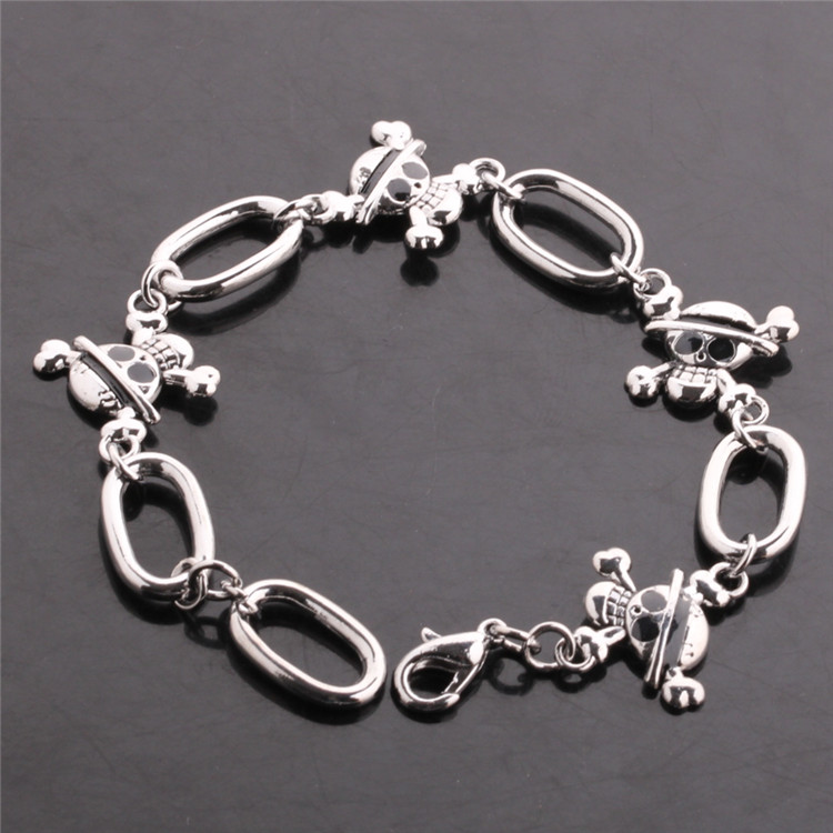 Hot Anime One Piece Luffy's Skeleton Logo Knit Silver Alloy  Chain Bracelet Cosplay Bangle Gift