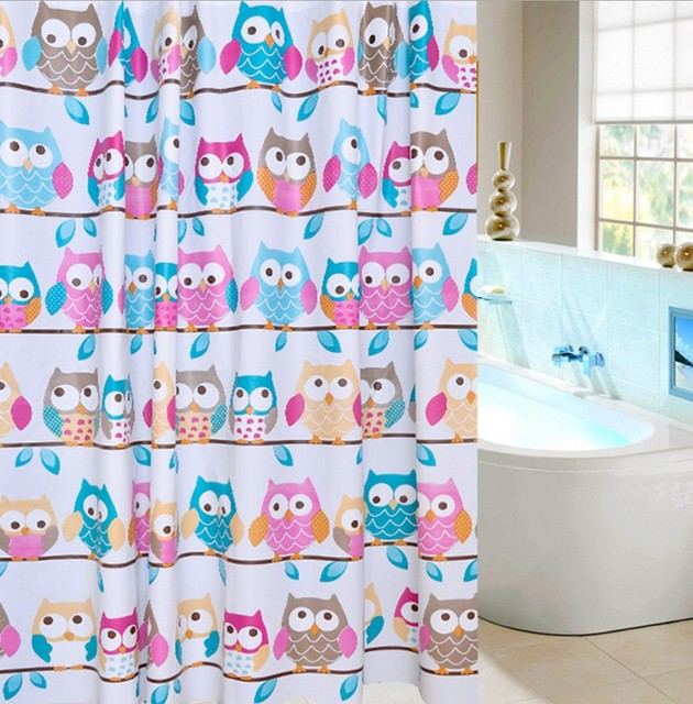 1pc Of Shower Curtain Cartoon Pink Blue Owl Design 180x180cm Bathroom Products Waterproof EVA