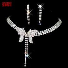 AINAMEISI модное хрустальное ожерелье в виде Капли серьги набор посеребренные Стиль Знаменитостей свадебные комплекты ювелирных изделий для подружки невесты