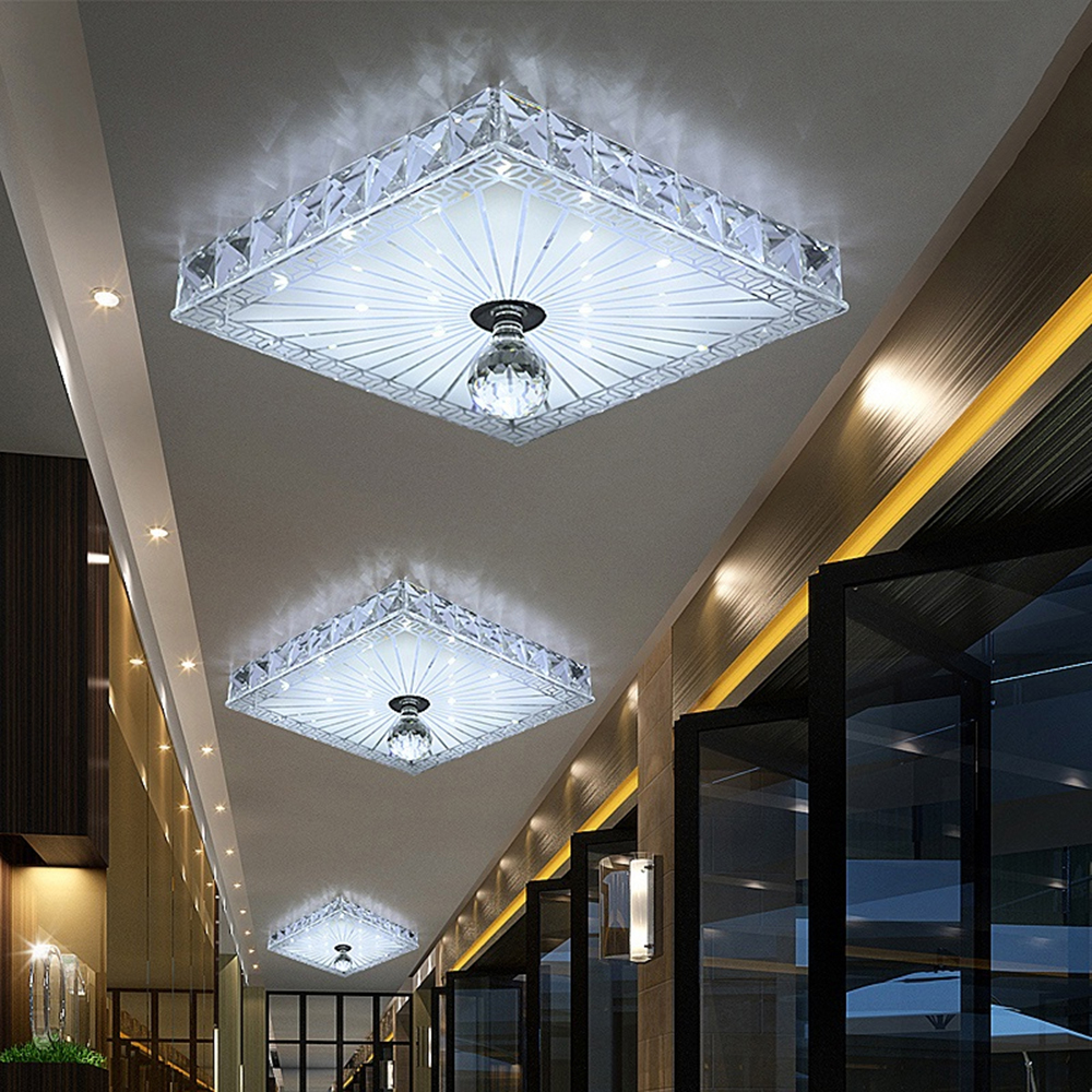 Modern LED Ceiling lights Aisle Veranda Lighting Down Crystal Mordern Surface Mounted LED Ceiling Lights for Living Room
