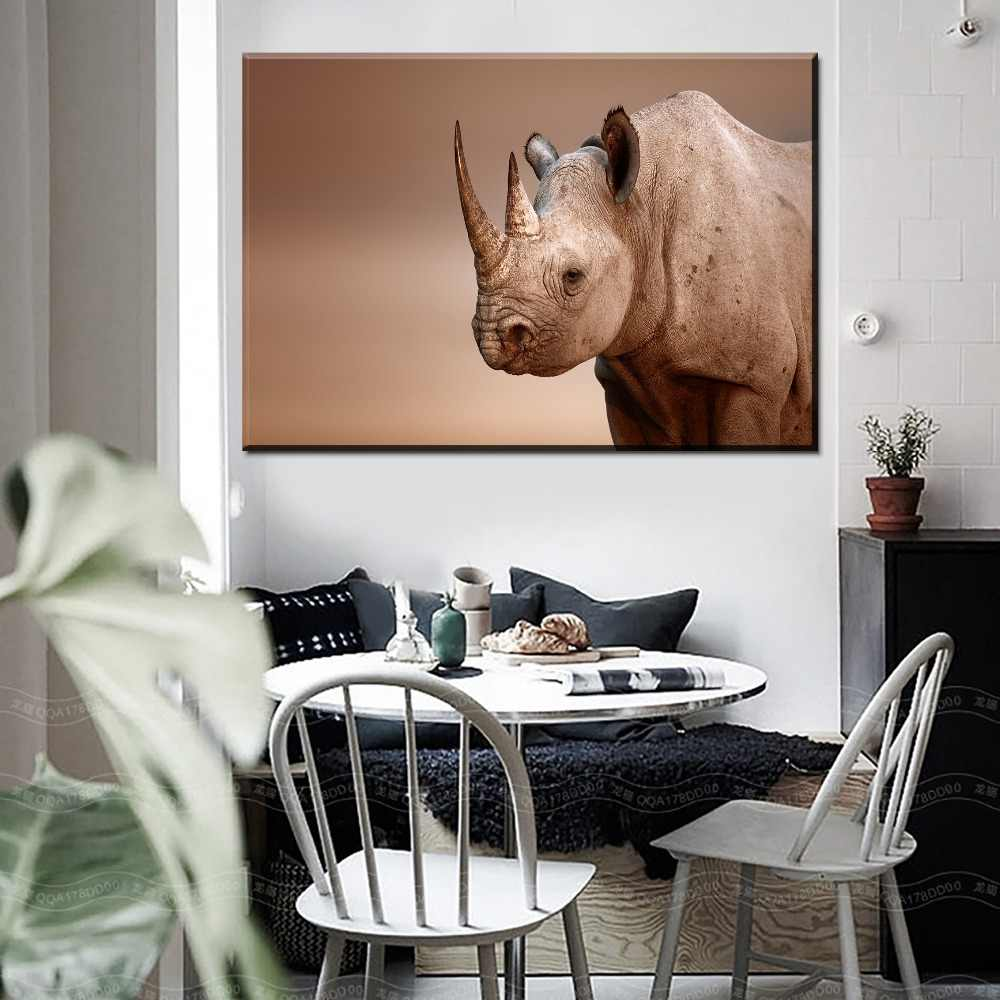 One Set 4 Piece Animal Rhino Painting Home Decor Poster Modern On Canvas Art Printing Type Style And On The Wall Decorative
