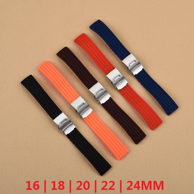 Essential 16mm,18mm, 20mm, 22mm, 24mm 5 colors New Silicone Rubber Watch Strap Band Deployment Buckle Waterproof BLack Watchband