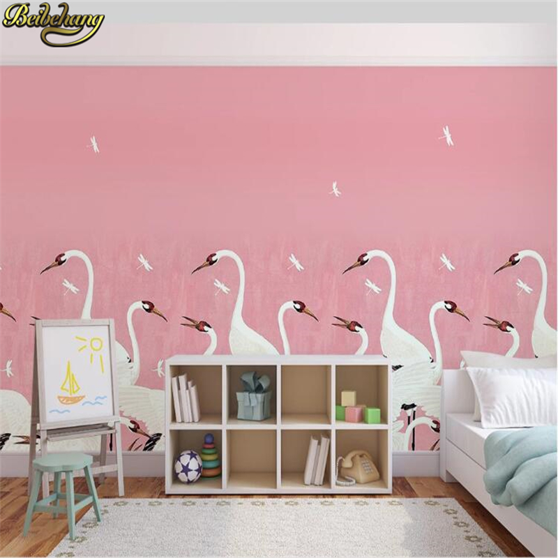 Beibehang Custom Photo Mural Wallpapers For Living Room TV Background Wall Mural Bedroom Red-crowned Crane Sofa Background Wall