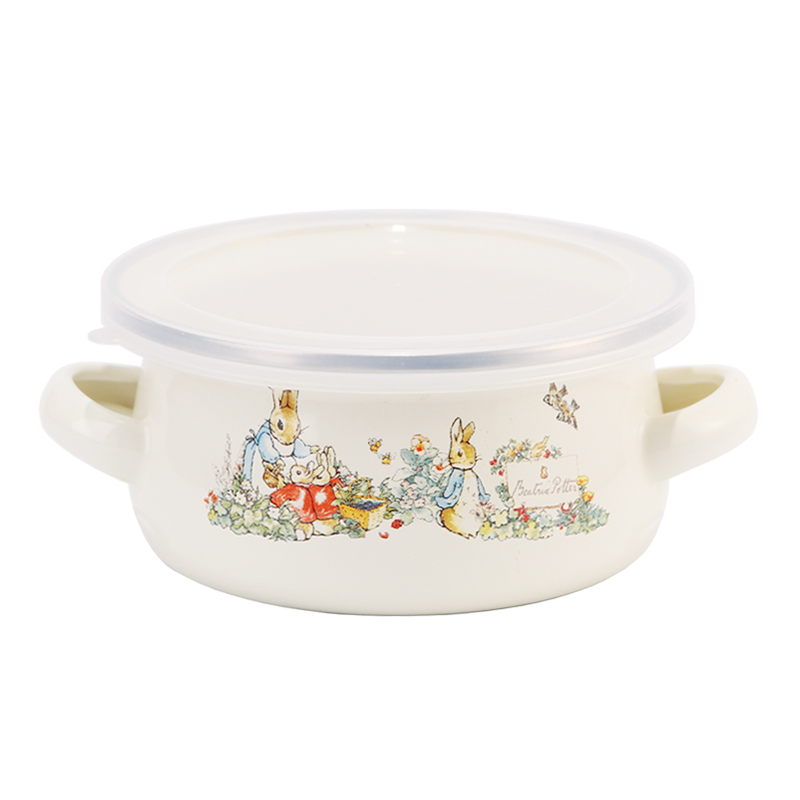Enamel Cooking Pot 12cm Mini Rice Cereal Milk Pan For Baby Food Composite Multi-layer Bottom&7-Layer Enamel Glaze Pot With Cover infant silica gel feeding bottle with spoon food supplement rice cereal bottle