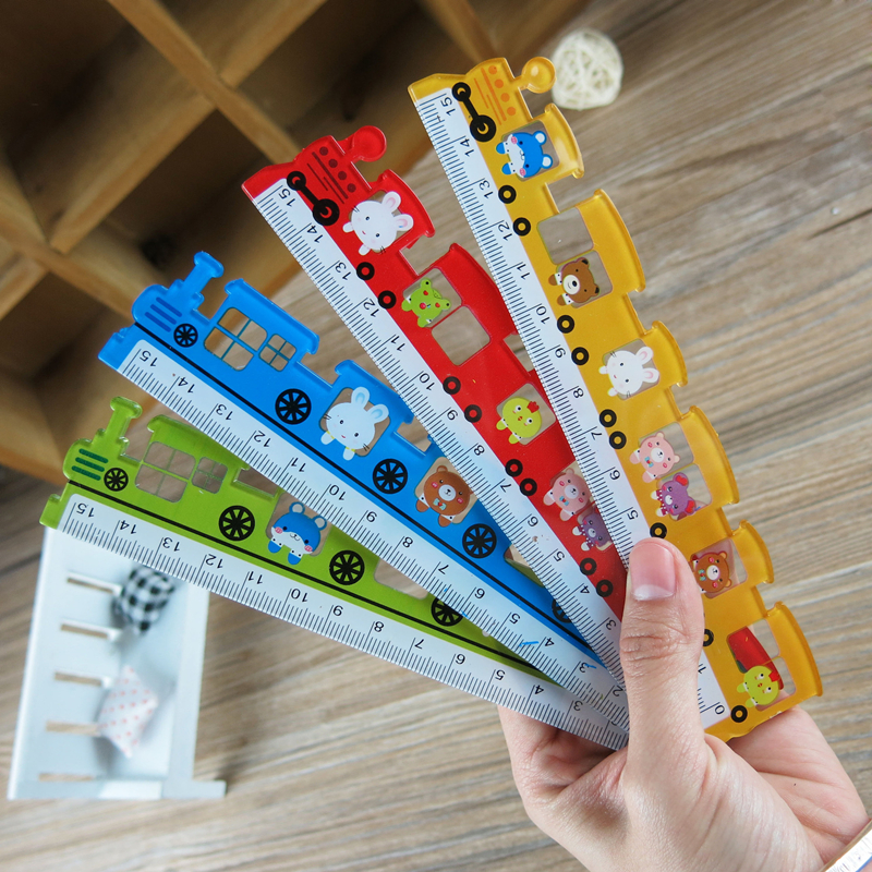 Coloffice Creative Stationery Cute Color Train Modeling Ruler 15cm Rulers School Supplies Prizes For Students Drawing Tools