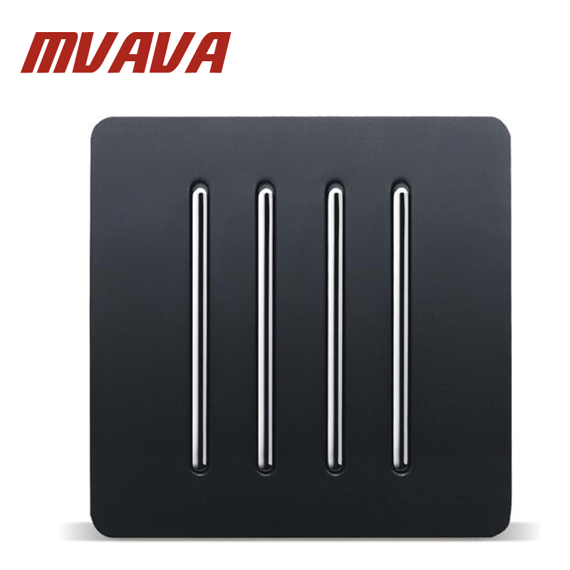 MVAVA 4 Gang 1 Way Switch And 10A 220-250V Lamp Switch Black PC Panel Push Button Switch 86*86MM Home Wall Switch Free Shipping ln kdc a11 4a 128a 250v switch button switch
