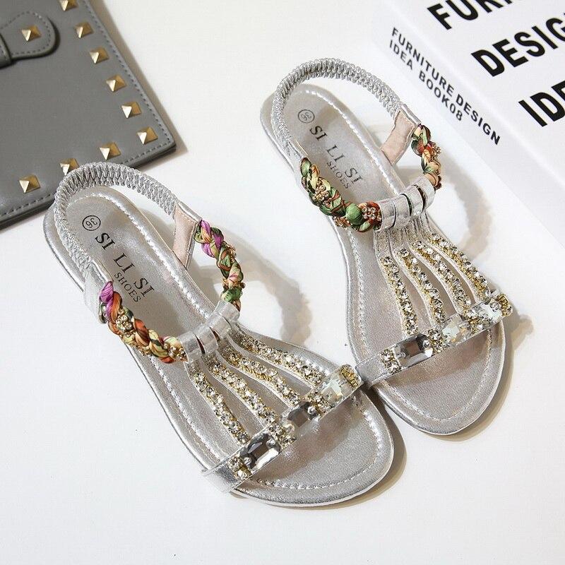 Exquisite weibliche Sandalen Schuhe mit Mode Schuhe Gold Silber - Damenschuhe - Foto 2
