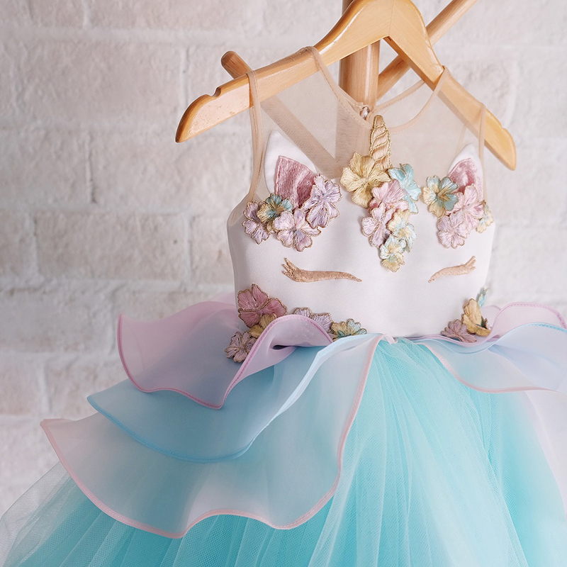 Free shipping 2018 new unicorn children 39 s princess dress girl 39 s yarn holiday dress wedding party dress birthday gift JQ 2019 in Matching Family Outfits from Mother amp Kids