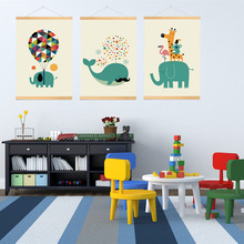 Cartoon Animal elephant whale Minimalist Art Canvas Poster Painting Print  Kid Room Decor Wall Picture,with wood frame