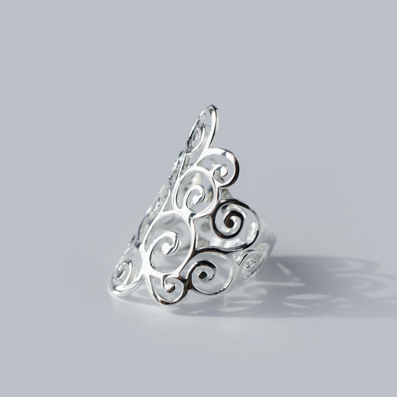 Retro 925 Sterling Silver Spiral Filigree Swirl Polish Finished Band Long Ring Thumb Adjustable Jewelry Women Men GTLJ843