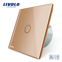 Livolo EU Standard 1Gang 2 Way Remote Switch Wireless Switch VL C701SR 13 Golden Color Glass