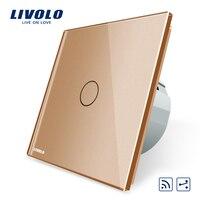 Livolo EU Standard 1Gang 2 Way Remote Switch Wireless Switch VL C701SR 13 Golden Color Glass