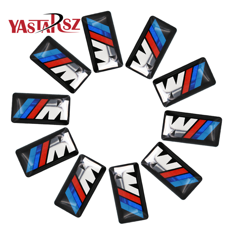 10Pcs Car styling Tec Sport Wheel Badge 3D M Emblem Sticker Wheel Decal Fit for BMW X1 X2 X3 M1 M3 M5 M6 Car Emblem Sticker цена