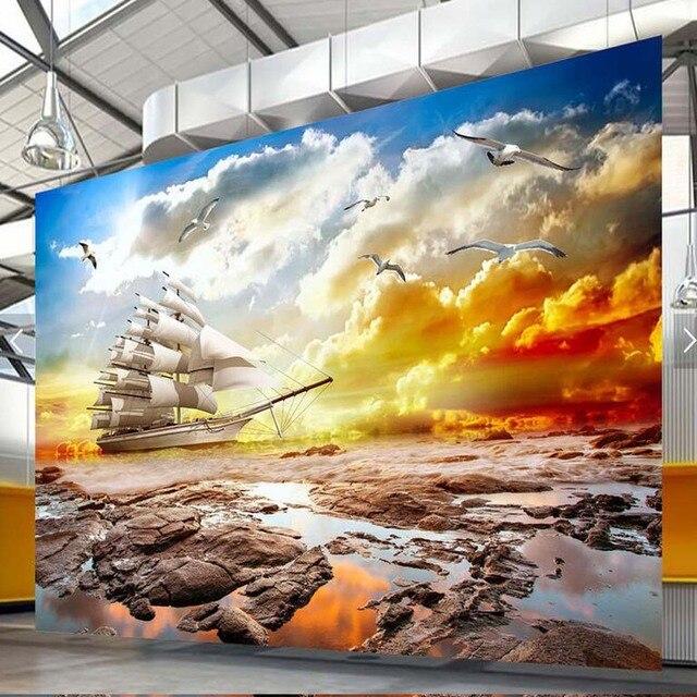 3D Photo Wallpaper Mural Wallpapers for Living Room Sea Landscape 3 ...