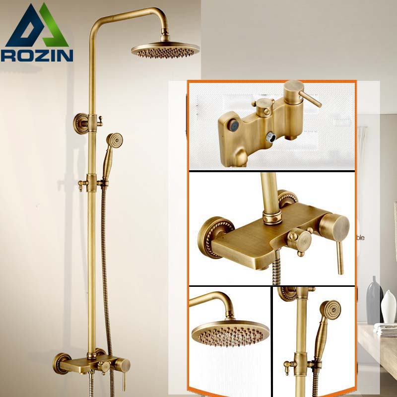 Antique Brass Shower Faucet Single Handle In-wall Bathroom & outdoor Shower Mixer System with Handshower wall mount single handle bath shower faucet with handshower antique brass bathroom shower mixer tap