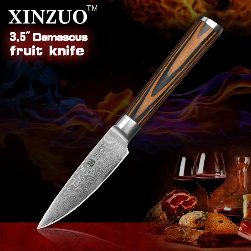 XINZUO NEW 3 5 fruit font b knife b font Damascus kitchen font b knives b