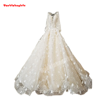 34784 Alibaba White Wedding Dress 3D Flowers With Pearls