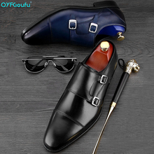 цены QYFCIOUFU Double Monk Strap Oxfords Formal Shoes Men Genuine Leather Wedding Suit Shoes High Quality Party Office Men Dress Shoe