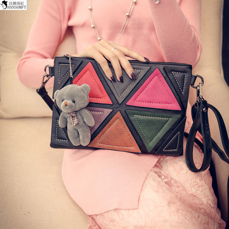 HANSOMFY  South Korea 2015 Bags Triangular Geometric Mosaic Retro Korean Winnie Envelope Bag Shoulder Satchel