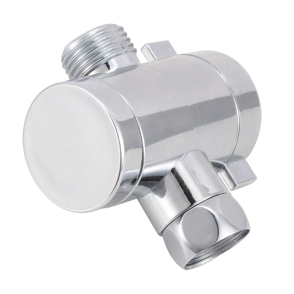 1//2 3 Way T-adapter Chrome For Shower Head Arm Mount Diverter T-Valve Splitter