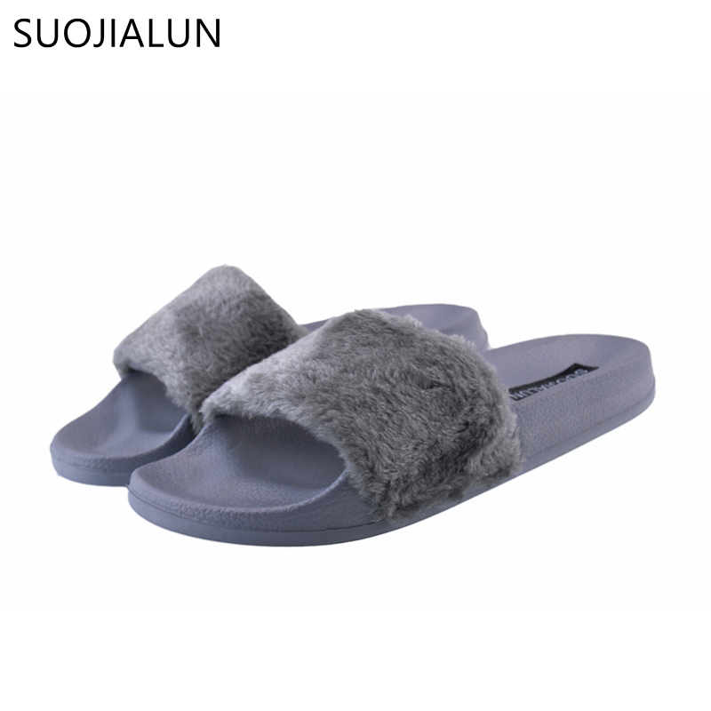 SUOJIALUN Womens Slippers Spring Autumn Fluffy Women Open Toe Slip On Sliders Fur Flat Female Casual Slipper Flip Flop Sandal flat fur women slippers 2017 fashion leisure open toe women indoor slippers fur high quality soft plush lady furry slippers
