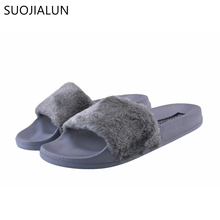 SUOJIALUN Womens Slippers Spring Autumn Fluffy Women Open Toe Slip On Sliders Fur Flat Female Casual Slipper Flip Flop Sandal