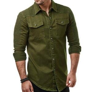 Image 3 - Hcxy 2019 秋男性のジーンズシャツビッグサイズ男性長袖デニムシャツ洗浄長袖のジーンズのシャツ倍の装飾