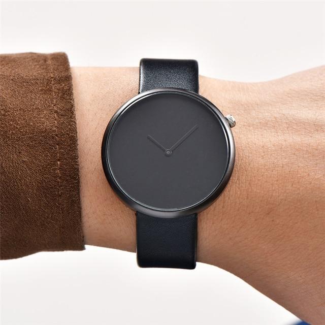 Minimalist Style Men Women Watch Fashion Casual Leather Quartz Wristwatch Analog Sport Clock Relogio Feminino Masculino