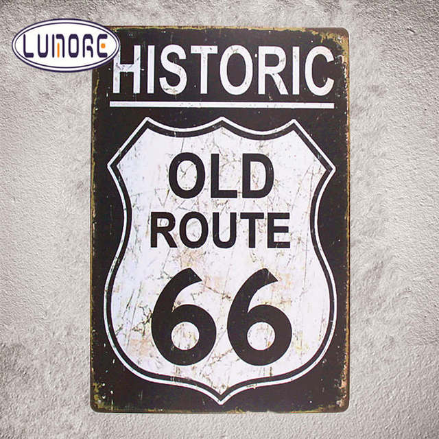 Vintage Metal Poster Historic Old Route 66 Tin Sign Home Decor Man Cave Garage