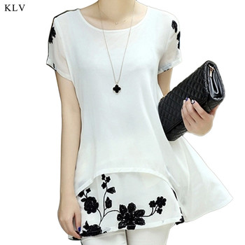KLV Chiffon Blouse Women Clothing Loose Short Sleeve Embroidery Flower Print Patchwork White Tops Big Shirts Plus Size 4XL