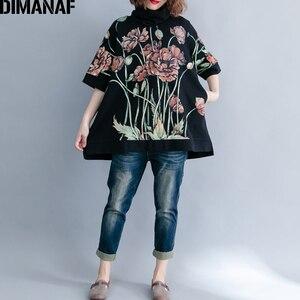 Image 5 - DIMANAF נשים נים חולצות בתוספת גודל חולצות שחור נשי גולף סוודר סתיו Thinken כותנה Loose 2019 הדפסת פרחוני