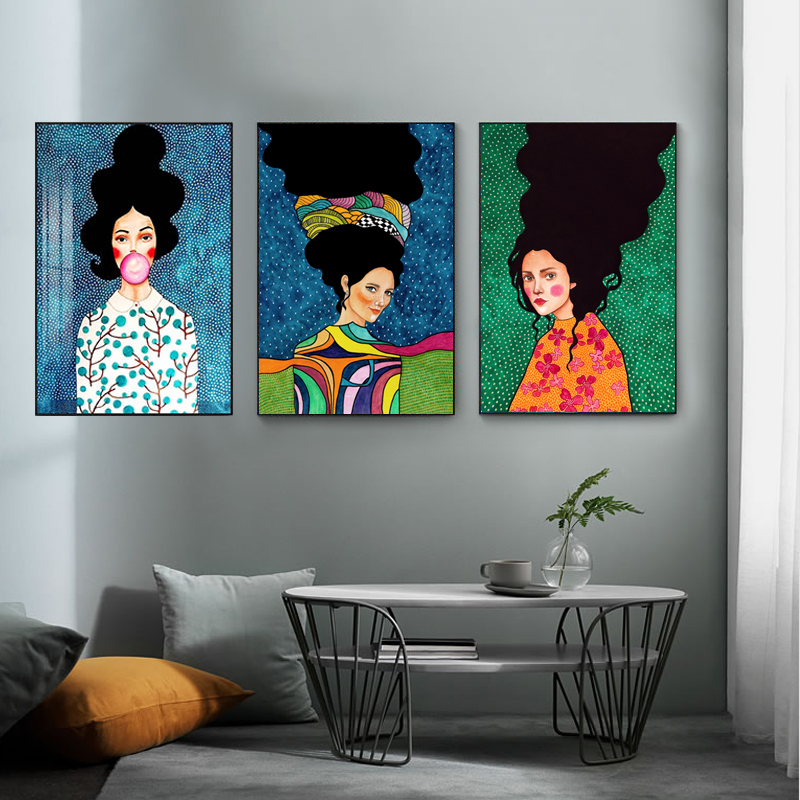 HTB1btN4QkvoK1RjSZFwq6AiCFXaU Nordic Modern Style Handdraw Characters Colorful Canvas Painting Poster Print Decor Wall Art Pictures For Living Room Bedroom