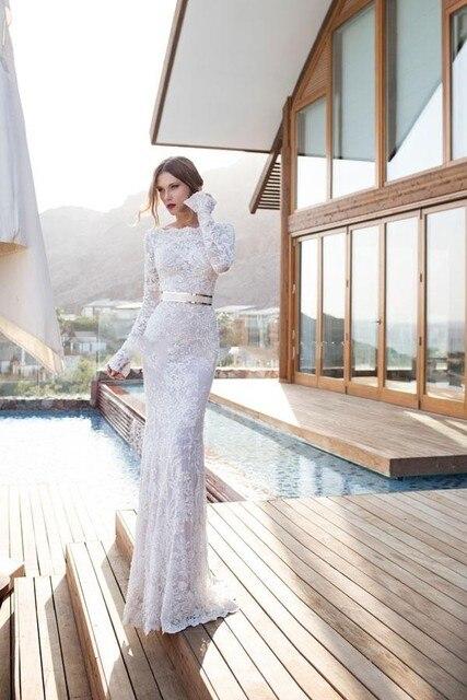 2016 Julie Vino Sheath Wedding Dresses Bateau Long Sleeve Covered ...