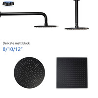 Matt Black Round & Square Rain Shower Head Black Shower Arm Wall Mouned and Ceiling Mounted Brass Bathroom Shower