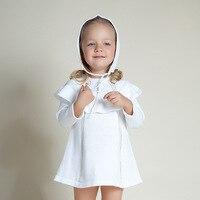 2 adet Güzel Beyaz Kız Elbise Bebek Babys Kızlar Çocuk Tutu tığ Örme Elbise Uzun Kollu + şapka Prenses Elbise Kızlar giyim