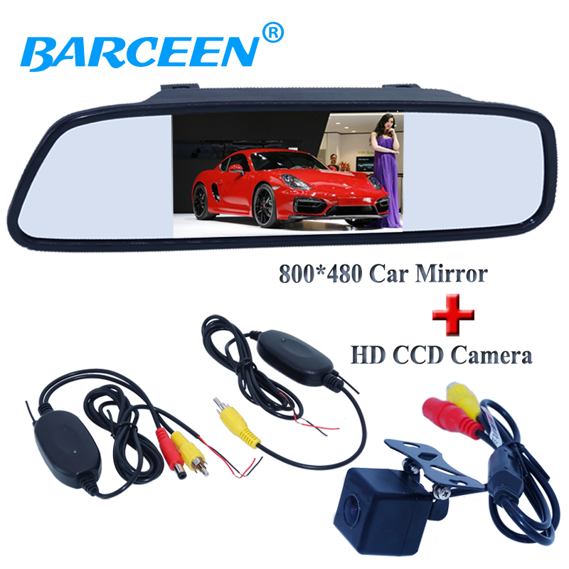 Black car back up reversing camera with 4.3 car display mirror plastic shell material with wireless receive and transmitting