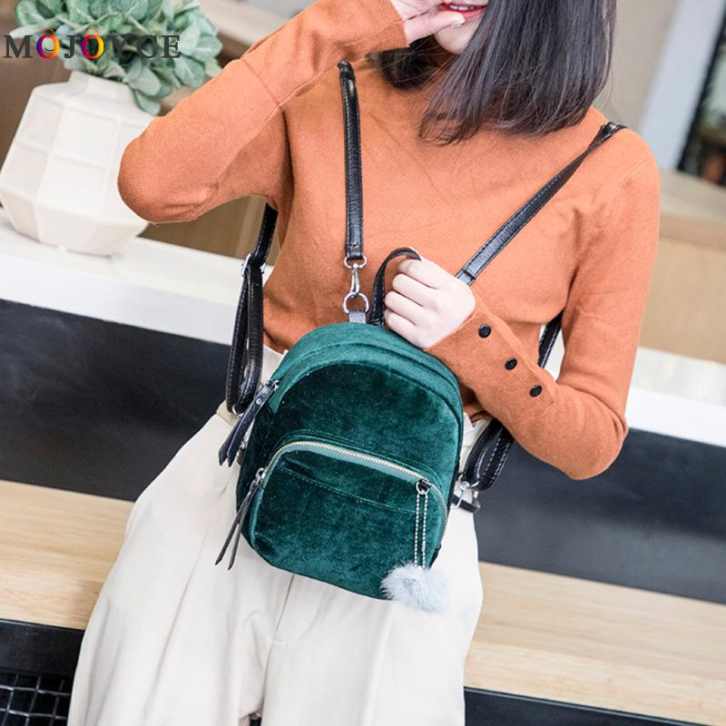 все цены на Velvet Women Backpack Casual Style Girls Simple Solid Mini School Backpack Female Fashion Designer Mochila Feminina онлайн