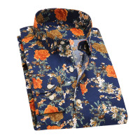 2017 Retro Floral Printed Men Casual Shirts Classic Men Dress Shirt Men S Long Sleeve Brand