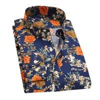 2017 Retro Floral Printed Men Casual Shirts Classic Men Dress Shirt Men S Long Sleeve Brand