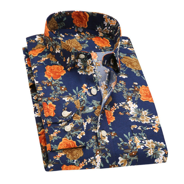 Retro Floral Printed Men Casual Shirts
