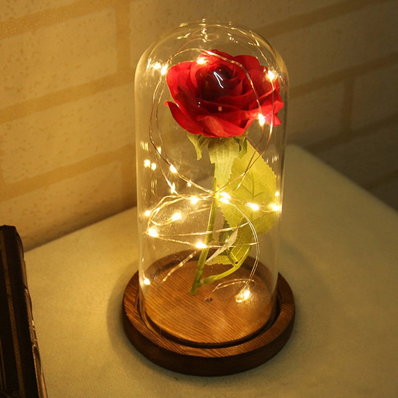 Flower LED Light Fallen Petals in a Glass Dome on a Wooden Base Home Decor